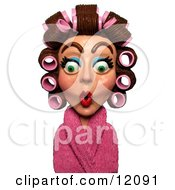 3d Surprised Woman In A Pink Robe And Curlers