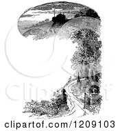 Clipart Of A Vintage Black And White Country Scene Border Royalty Free Vector Illustration
