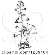 Clipart Of A Vintage Black And White Cupid Archer And Love Plant Royalty Free Vector Illustration by Prawny Vintage