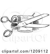 Clipart Of A Vintage Black And White Pair Of Scissors And Paste Royalty Free Vector Illustration by Prawny Vintage