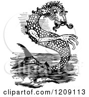 Clipart Of A Vintage Black And White Sea Monster Royalty Free Vector Illustration