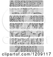 Clipart Of A Vintage Black And White Block Lettering And Numbers Royalty Free Vector Illustration