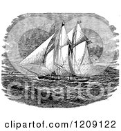 Clipart Of A Vintage Black And White Ancient Ship Royalty Free Vector Illustration