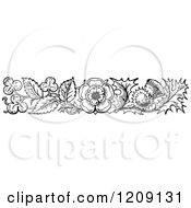 Clipart Of A Vintage Black And White Thistle Flower Border Royalty Free Vector Illustration