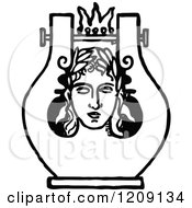 Clipart Of A Vintage Black And White Face Lyre Design Royalty Free Vector Illustration