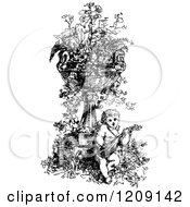 Vintage Black And White Musical Cherub