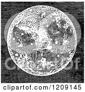 Clipart Of A Vintage Black And White Moon Royalty Free Vector Illustration