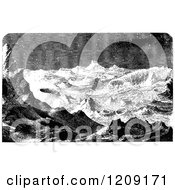 Clipart Of A Vintage Black And White Lunar Landscape Of The Moon Royalty Free Vector Illustration