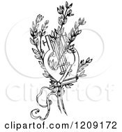 Clipart Of A Vintage Black And White Lyre And Branches Royalty Free Vector Illustration by Prawny Vintage