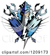 Clipart Poseidon Badge With Crossed Tridents Royalty Free Vector Illustration by Chromaco