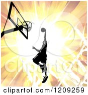 Clipart Of A Silhouetted Basketball Player Slam Dunking Over A Fiery Burst Royalty Free Illustration