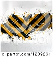 Clipart Of 3d Diamond Plate Metal With Hazard Stripes Splattered On Gray Royalty Free Illustration