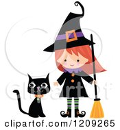 Cartoon Of A Cute Halloween Witch With A Broom And Black Cat Royalty Free Vector Clipart