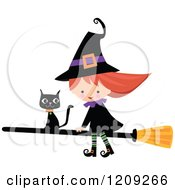 Cartoon Of A Cute Halloween Witch Riding A Broomstick With A Black Cat Royalty Free Vector Clipart