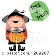 Cute Halloween Witch Shouting Trick or Treat and Holding a Pumpkin Basket