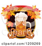 Cartoon Of A Beer Mug And Soft Pretzels Under An Oktoberfest Banner With Autumn Leaves Royalty Free Vector Clipart by Pushkin