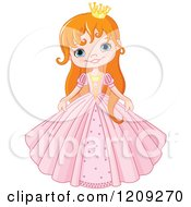 Cartoon Of A Happy Red Haired Princess In A Pink Dress Royalty Free Vector Clipart