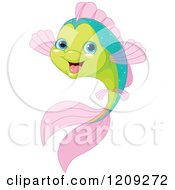 Cartoon Of A Cute Happy Green And Pink Fish Royalty Free Vector Clipart