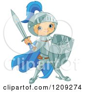 Cartoon Of A Blond Knight Boy Ready For Battle Royalty Free Vector Clipart by Pushkin