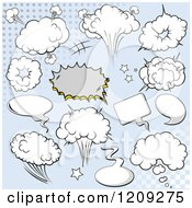 Cartoon Of A Comic Bursts And Design Elements Over Blue Royalty Free Vector Clipart by Pushkin
