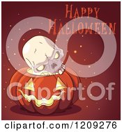 Cartoon Of A Happy Halloween Greeting Over A Skull In A Jackolantern Pumpkin Royalty Free Vector Clipart by Pushkin