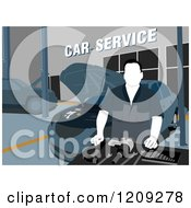 Clipart Of A Car Service Technicial With Tools In A Garage Royalty Free Vector Illustration