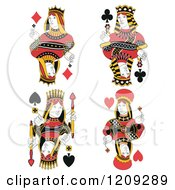 Clipart Of Isolated Queens Of Diamonds Clubs Spades And Hearts Royalty Free Vector Illustration