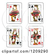 Clipart Of Queen Of Diamonds Clubs Spades And Hearts Playing Cards Royalty Free Vector Illustration