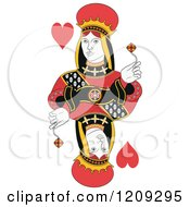 Clipart Of An Isolated Queen Of Hearts Royalty Free Vector Illustration