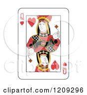 Clipart Of A Queen Of Hearts Playing Card Royalty Free Vector Illustration