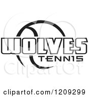 Clipart Of A Black And White Ball And WOLVES TENNIS Team Text Royalty Free Vector Illustration by Johnny Sajem