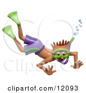 Clay Sculpture Clipart Shocked Boy Snorkeling Royalty Free 3d Illustration by Amy Vangsgard