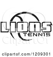 Clipart Of A Black And White Ball And LIONS TENNIS Team Text Royalty Free Vector Illustration by Johnny Sajem