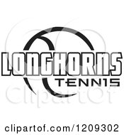 Clipart Of A Black And White Ball And LONGHORNS TENNIS Team Text Royalty Free Vector Illustration