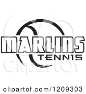 Clipart Of A Black And White Ball And MARLINS TENNIS Team Text Royalty Free Vector Illustration by Johnny Sajem