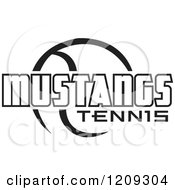 Clipart Of A Black And White Ball And MUSTANGS TENNIS Team Text Royalty Free Vector Illustration by Johnny Sajem