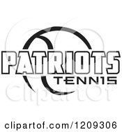 Clipart Of A Black And White Ball And PATRIOTS TENNIS Team Text Royalty Free Vector Illustration