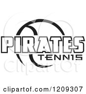 Clipart Of A Black And White Ball And PIRATES TENNIS Team Text Royalty Free Vector Illustration