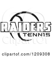 Clipart Of A Black And White Ball And RAIDERS TENNIS Team Text Royalty Free Vector Illustration