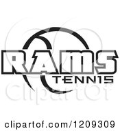 Clipart Of A Black And White Ball And RAMS TENNIS Team Text Royalty Free Vector Illustration