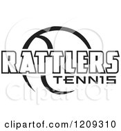 Clipart Of A Black And White Ball And RATTLERS TENNIS Team Text Royalty Free Vector Illustration