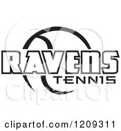 Clipart Of A Black And White Ball And RAVENS TENNIS Team Text Royalty Free Vector Illustration