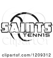Clipart Of A Black And White Ball And SAINTS TENNIS Team Text Royalty Free Vector Illustration