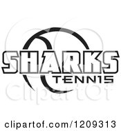 Clipart Of A Black And White Ball And SHARKS TENNIS Team Text Royalty Free Vector Illustration