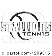 Clipart Of A Black And White Ball And STALLIONS TENNIS Team Text Royalty Free Vector Illustration