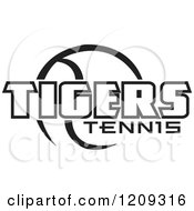 Clipart Of A Black And White Ball And TIGERS TENNIS Team Text Royalty Free Vector Illustration