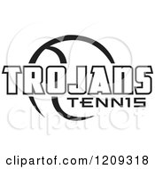 Clipart Of A Black And White Ball And TROJANS TENNIS Team Text Royalty Free Vector Illustration