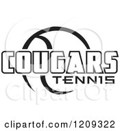 Clipart Of A Black And White Ball And COUGARS TENNIS Team Text Royalty Free Vector Illustration