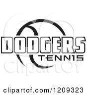Clipart Of A Black And White Ball And DODGERS TENNIS Team Text Royalty Free Vector Illustration