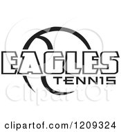 Clipart Of A Black And White Ball And EAGLES TENNIS Team Text Royalty Free Vector Illustration